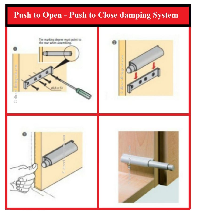 Push To Open Magnetic Catch Damper Buffer Sprung White